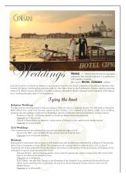 Hotel Cipriani Wedding Factsheet 2012 - by Orient-Express