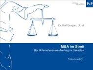 Der Unternehmenskaufvertrag im Stresstest - P+P Pöllath + Partners
