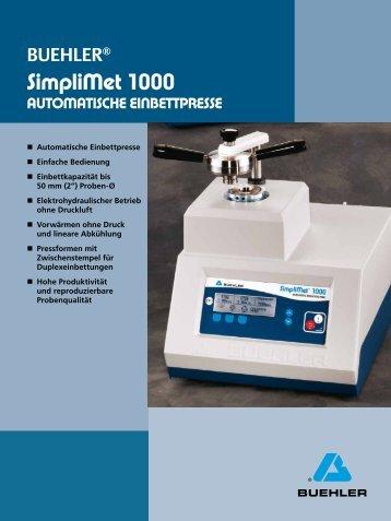 Simplimet 1000 - BUEHLER Gmbh