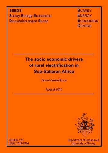 The socio economic drivers of rural electrification in Sub-Saharan ...