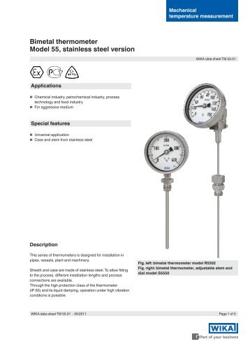 Bimetal thermometer Model 55, stainless steel ... - BKW Instruments