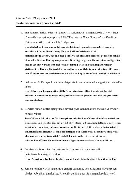 Övning 7 den 29 september 2011 Faktormarknaderna Frank kap 14 ...