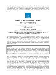 Announcement made by Metro Pacific Investments Corporation in ...