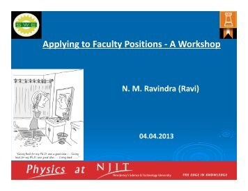 Applying to Faculty Positions - A Workshop