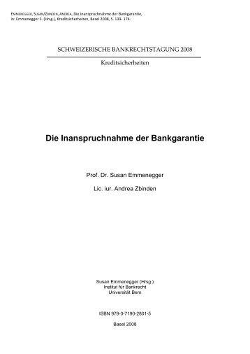 Die Inanspruchnahme der Bankgarantie - Institut für Bankrecht ...