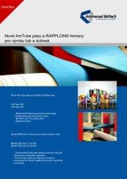 Nové AmTube pásy a RAPPLON® řemeny pro výrobu tub a dutinek