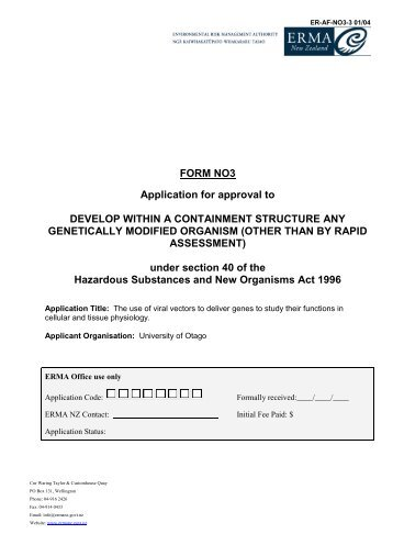 View The Completed Application Form (pdf, 633 Kb)   Environmental .