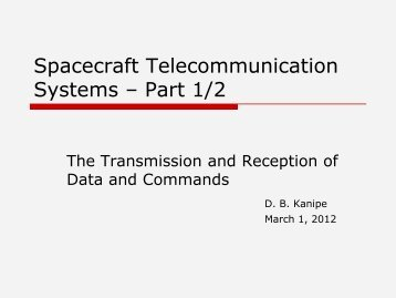 Spacecraft Telecommunication Systems – Part 1/2