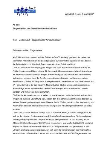 Brief vom ZeitlosLauf an den Bürgermeister von Wendisch Evern