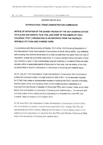 notice 760 of 2012 - International Trade Administration Commission ...