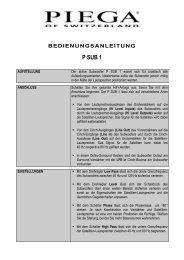 bedienungsanleitung p sub 1 - Piega SA
