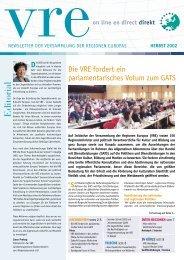 VRE AKTIVITÄTEN - Assembly of European Regions