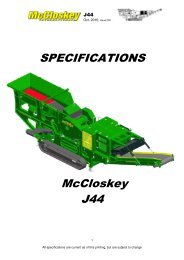 SPECIFICATIONS McCloskey J44 - Best Machinery Kft.