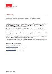Adecco Investor Days 2012 in Parijs - FlexNieuws