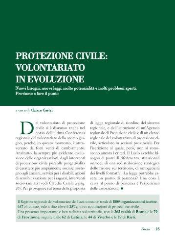PROTEZIONE CIVILE: VOLONTARIATO IN ... - Volontariato Lazio