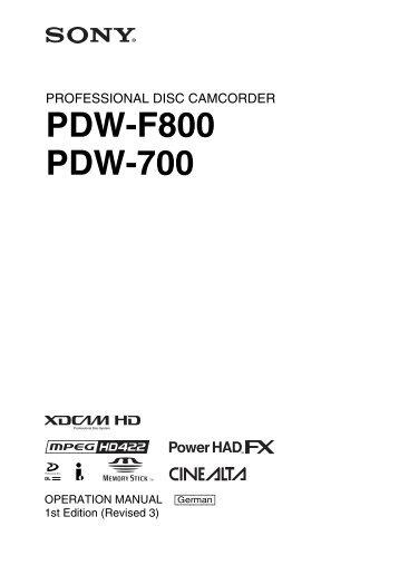 PDW-F800 PDW-700 - Video Data
