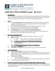 Adult Slow Pitch Softball League - By-Laws - City of Bremerton