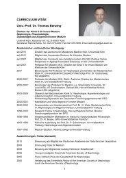 CURRICULUM VITAE Univ.-Prof. Dr. Thomas Benzing