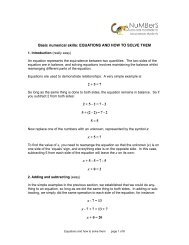 Basic numerical skills: EQUATIONS AND HOW TO SOLVE THEM 2+ ...