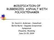 modification of rubberized asphalt with polyoctenamer - Petersen ...