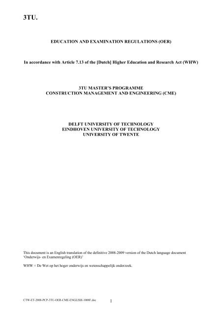 EDUCATION AND EXAMINATION REGULATIONS (OER)