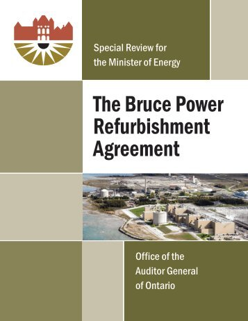 The Bruce Power Refurbishment Agreement - Auditor General of ...