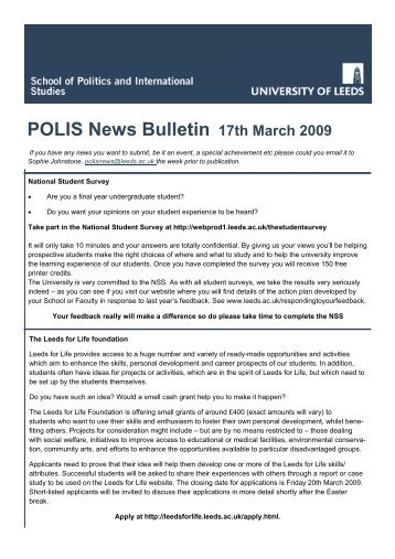POLIS News Bulletin 17th March 2009 - School of Politics ...