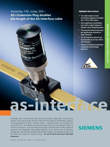 ASI Extension Plug Flyer - Siemens Industry, Inc.