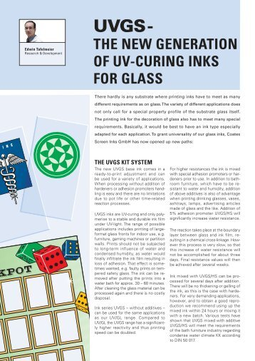 UVGS - the new generation of UV-Curing Inks for ... - Coates Screen