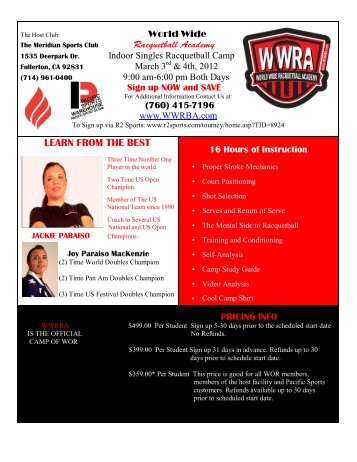 LEARN FROM THE BEST - World Wide Racquetball Academy