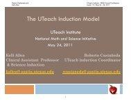 The UTeach Induction Model - The UTeach Institute