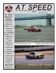 In This Months Issue Auto X Results Page 3 - South Jersey Region