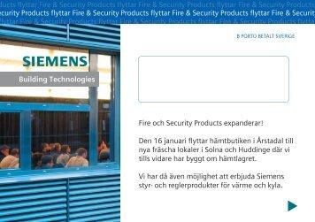 Fire och Security Products expanderar! Den 16 januari ... - Siemens