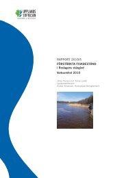 förstärkta fiskbestånd i roslagens skärgård Verksamhet 2010