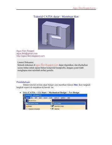 Tutorial CATIA dasar : Membuat Slot