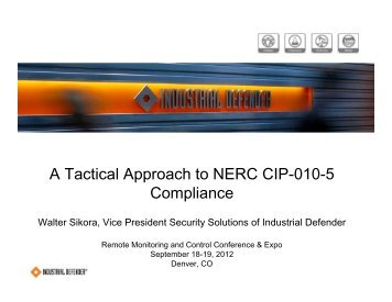 A Tactical Approach to Continuous Compliance for NERC CIP