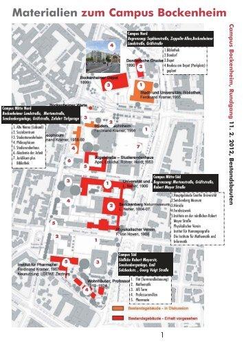 Materialien zum Campus Bockenheim - Zukunft Bockenheim