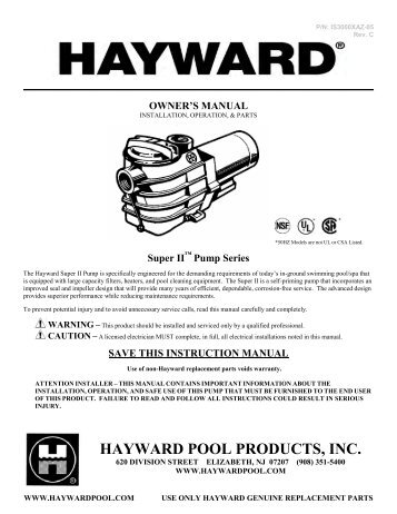 Hayward Super II - Home - Swimming Pool Parts Filters Pumps ...
