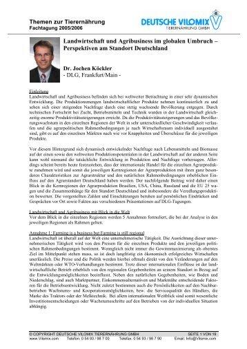 Landwirtschaft und Agribusiness im globalen Umbruch ...