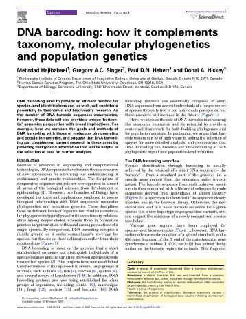 DNA barcoding: how it complements taxonomy ... - Cromatina