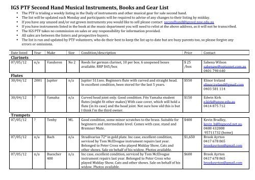 Igs Ptf Second Hand Musical Instruments Books And Gear List
