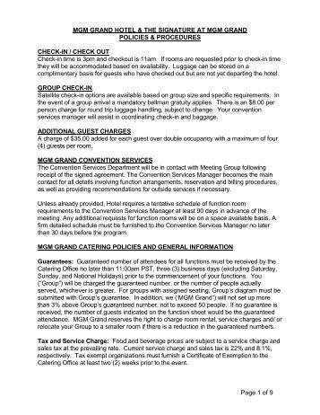 Policies & Procedures - MGM Grand
