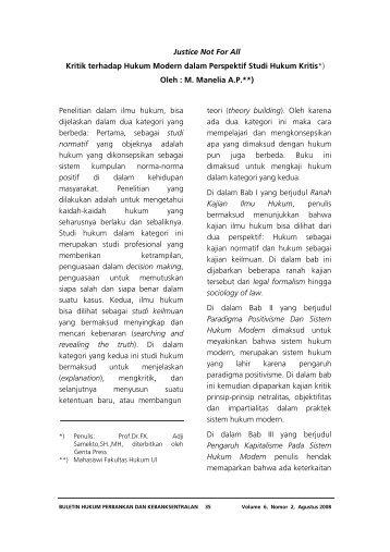 Resensi Buku : Justice Not For All : Kritik terhadap ... - Bank Indonesia