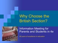 Why Choose the British Section?