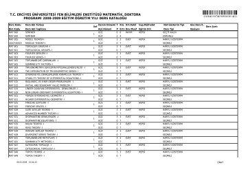 liste - Fen Bilimleri Enstitüsü - Erciyes Üniversitesi