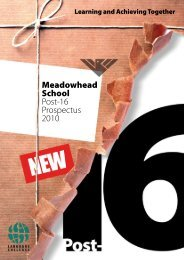 Meadowhead School Post-16 Prospectus 2010