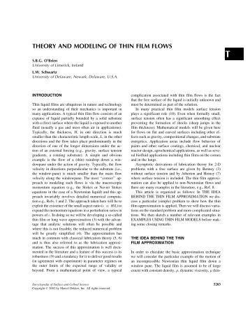theory and modeling of thin film flows - Interfacial Fluid Mechanics ...