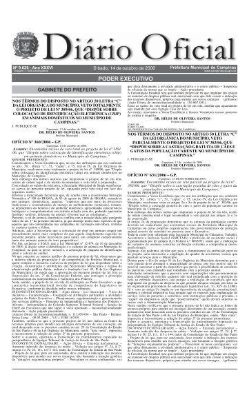 Diário Oficial S·bado, 14 de outubro de 2006 - Campinas