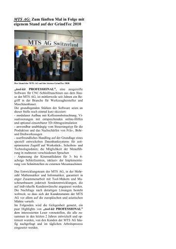MTS AG: Zum fünften Mal in Folge mit eigenem Stand auf der ...