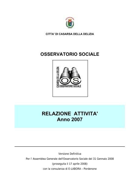 RELAZIONE ATTIVITA' Anno 2007 - Provincia di Pordenone
